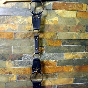 CAbi Black Leather O-ring harness corset belt szS